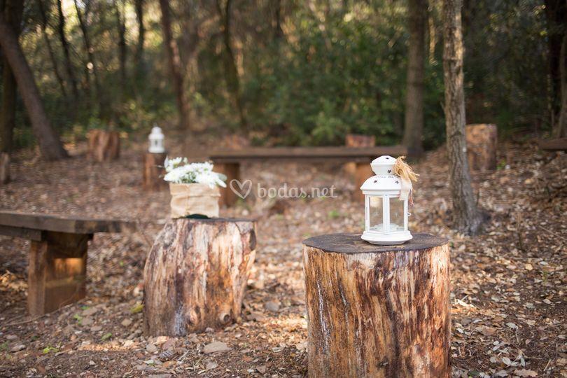 Detalle boda en el bosque