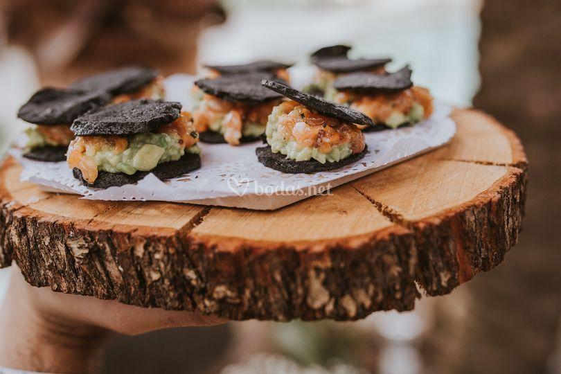 Oreo de tartar de salmón