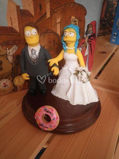Simpsons vestidos como novios