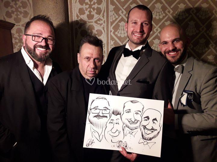 Caricaturas en grupo