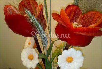 Centro de tulipanes y nabos