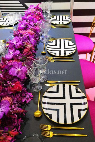 Black, gold & pink