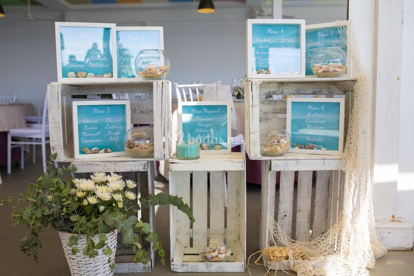 Seating plan para boda en la playa