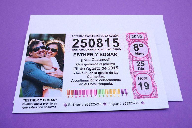 Invitación de boda lotería