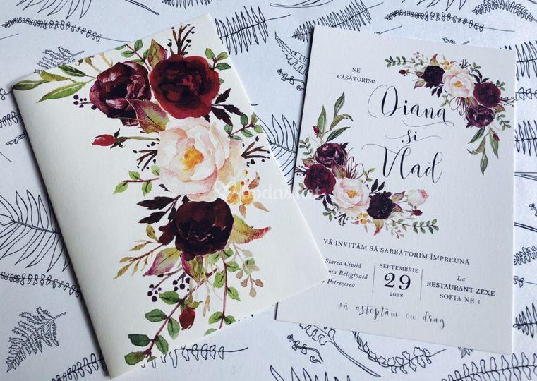 Invitaciones florales bohemian