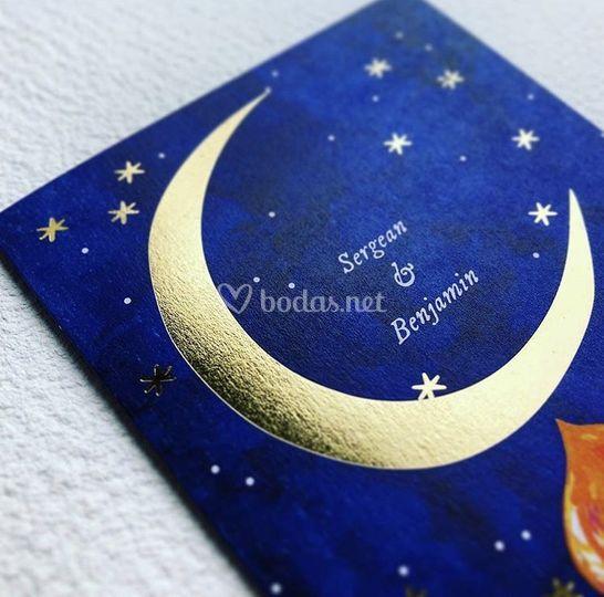 Invitaciones luna y estrellas