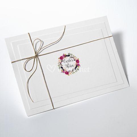 Invitaciones de boda orla floral