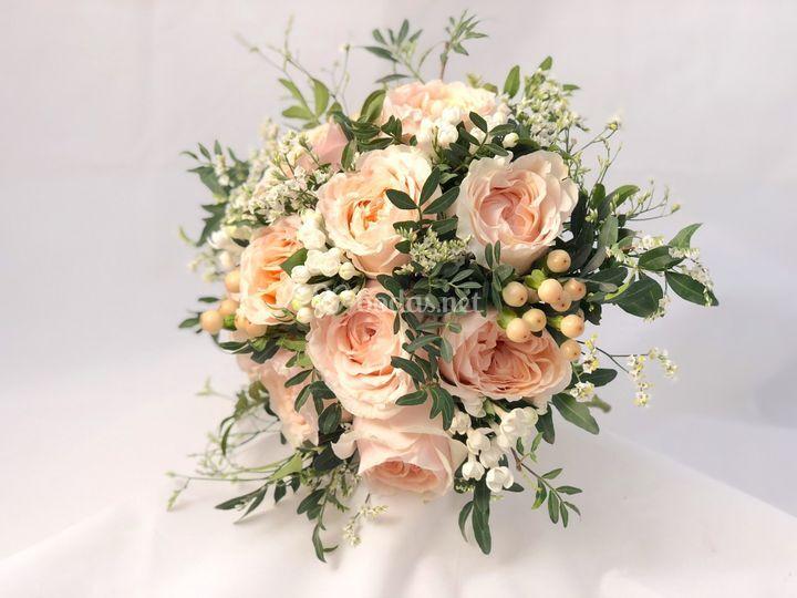Ramo de novia  rosas de jardín