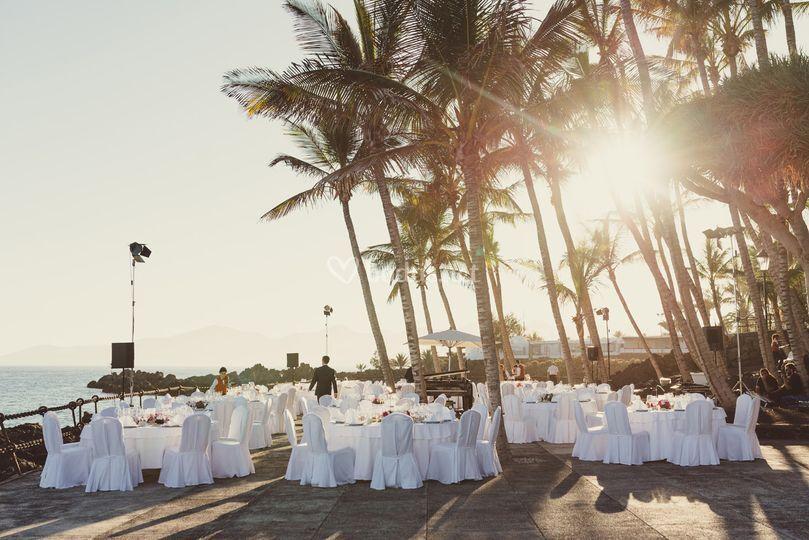 Banquete en solarium