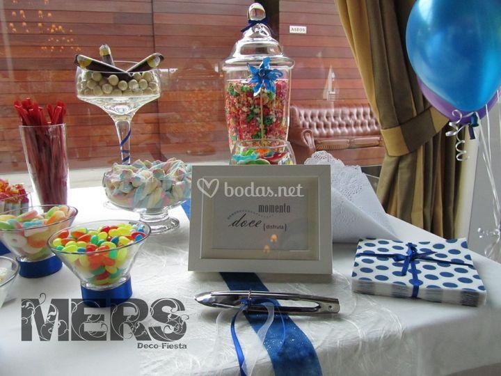 Buffet o mesa de chuche azul