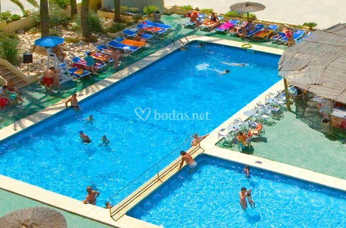 Vista aérea de las piscinas