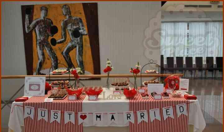 Mesa de dulces de boda, rojos