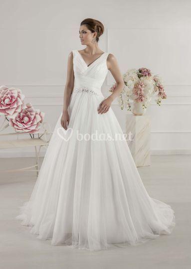 Vestido de novia con falda vaporosa