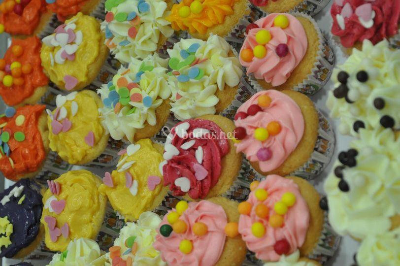 Bandeja de mini cupcakes