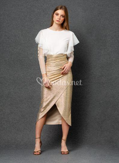 Conjunto falda entubada dorada
