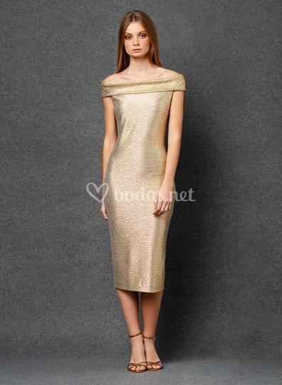 Vestido corto de cóctel dorado