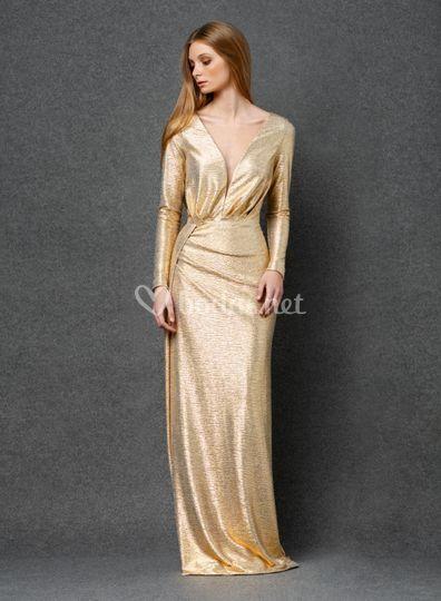 Vestido largo de fiesta dorado