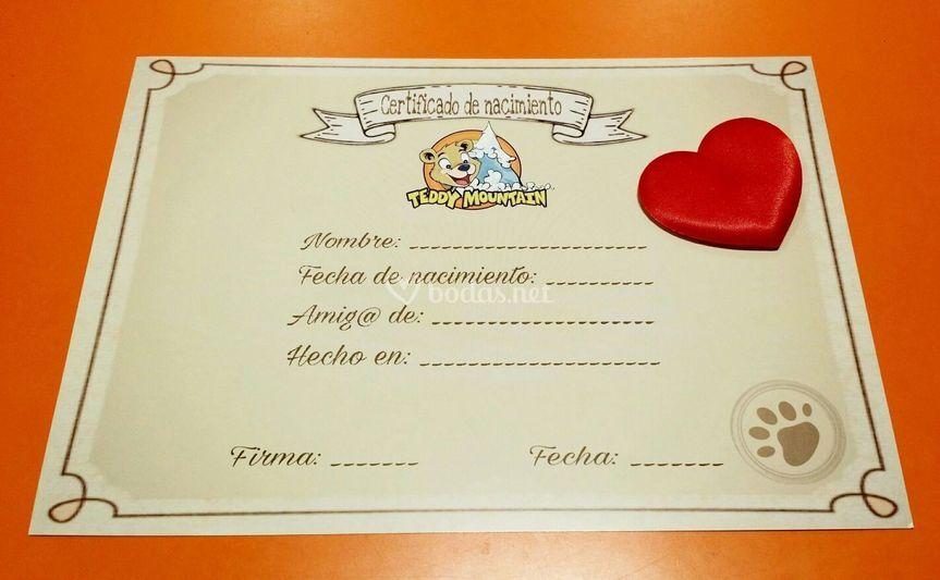Certificado nacimiento peluche