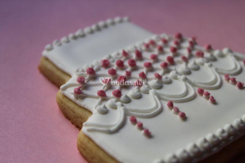 Galletas con forma de tarta nupcial