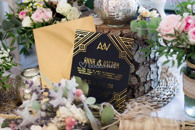 Invitaciones tinta oro