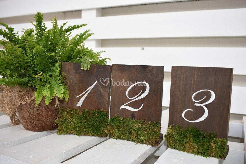 Números de mesa para boda