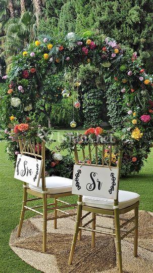 Cartel Sr y Sra para sillas