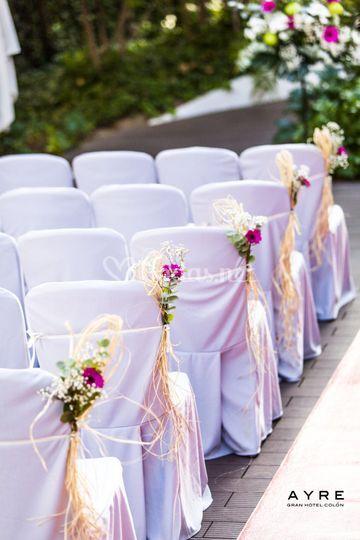 Detalle montaje de ceremonia civil