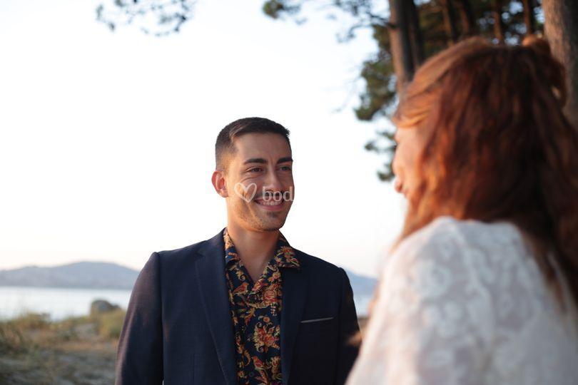 Sara y Luca el día de su boda