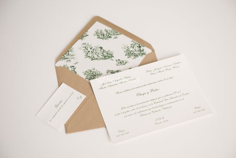 Invitación toile de jouy verde