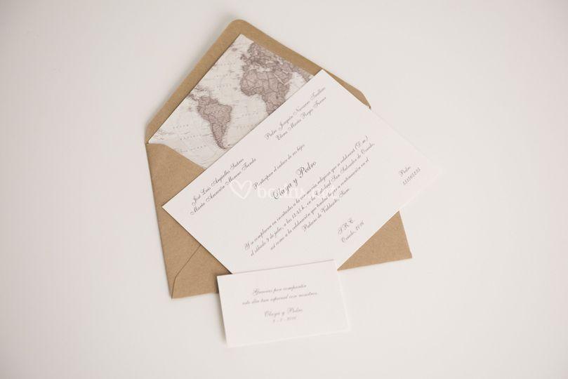 Invitación viajera mapamundi