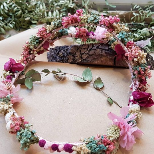 Corona doble de flor natural