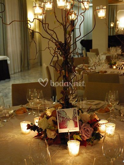 Detalle decoración salón boda