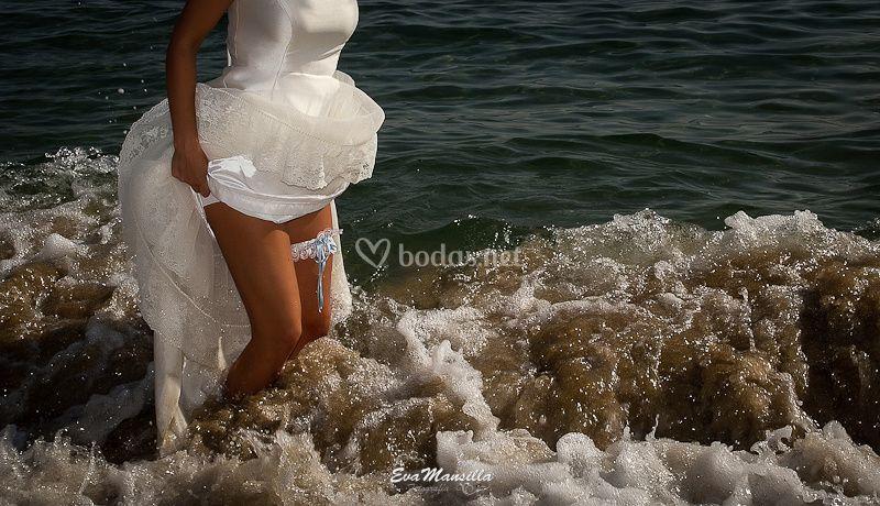 Novia liga playa fotos boda