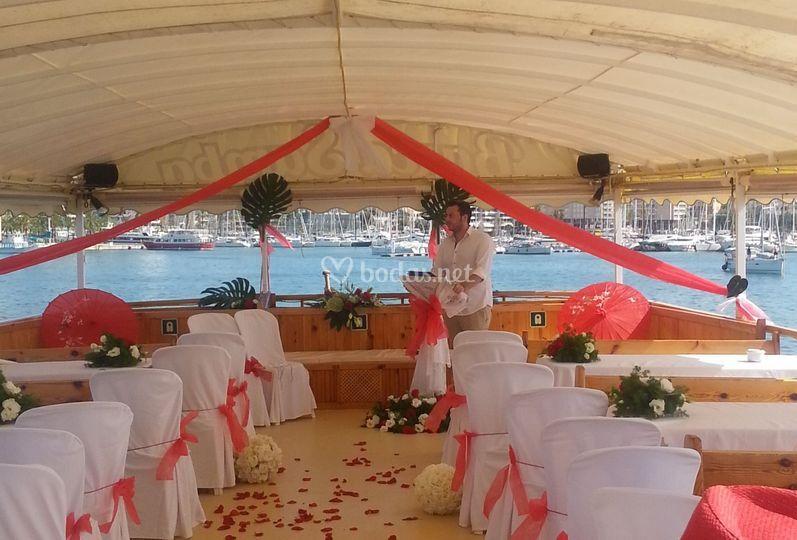 Banquete en la cubierta superior
