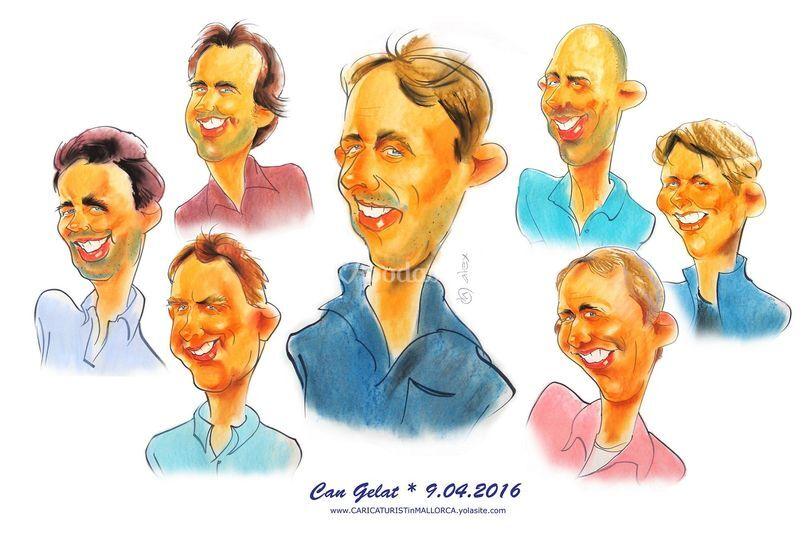 Caricaturas de los invitados