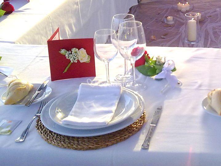 Detalle cubierto boda familiar