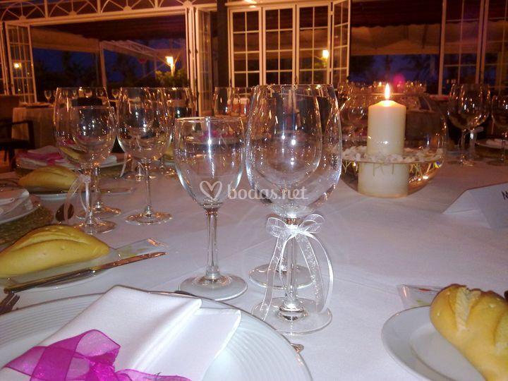 Detalle mesa boda salón la luz