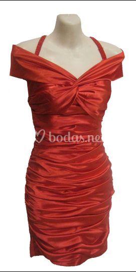 Vestido corto rojo drapeado
