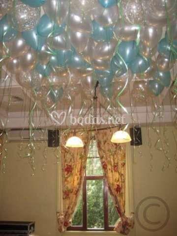 Rincones decorados con globos