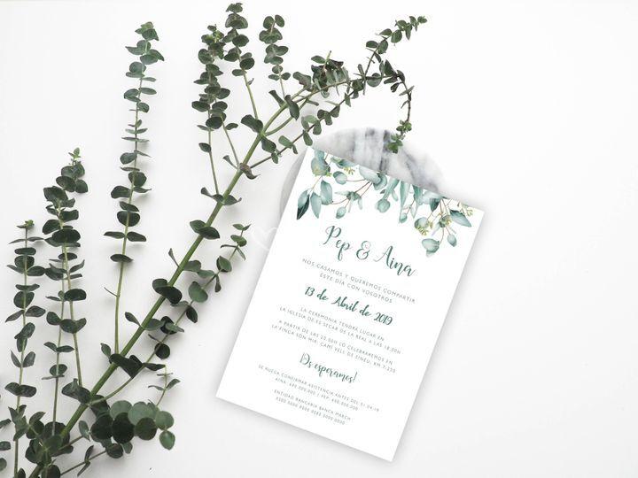 Invitación de boda eucaliptos