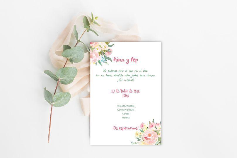Invitación de boda flores acuarel