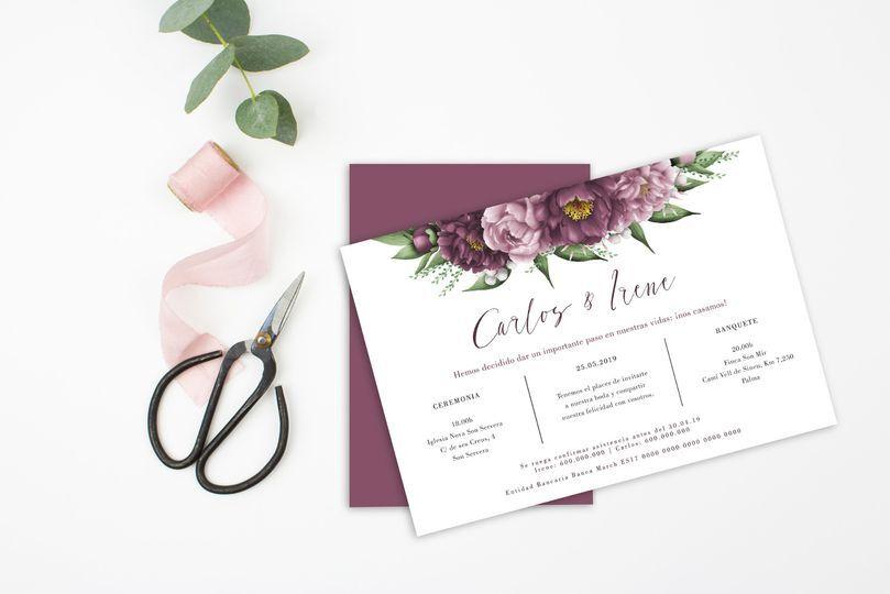 Invitación de boda flores malva