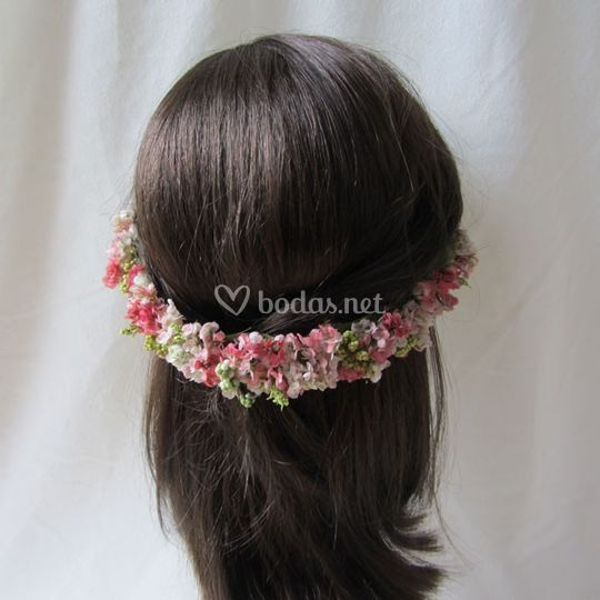 Tiara de flor mini rosa