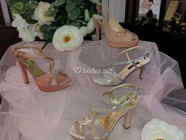 Sandalias de novia rosa-nude