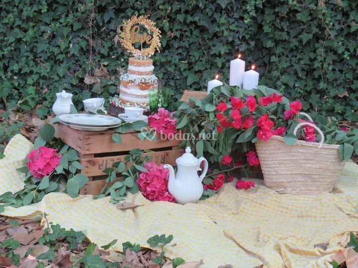 Decoración pastel boda