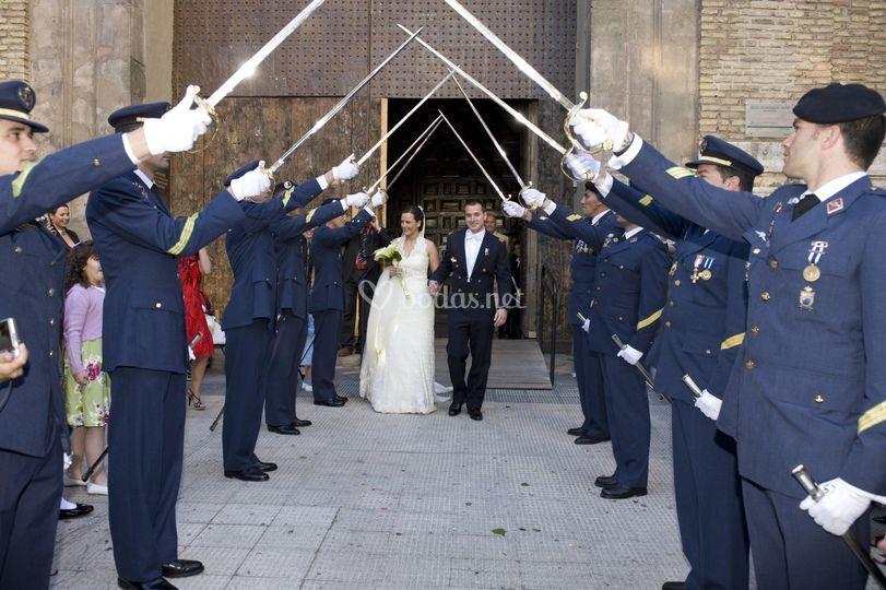 A la salida de la ceremonia