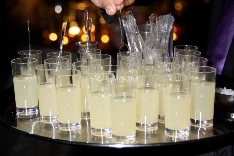 Margaritas con textura de gelatina