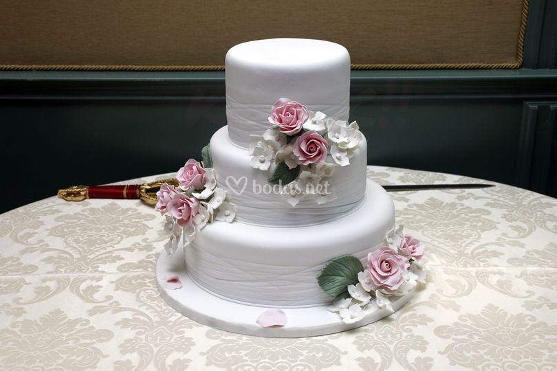 Tarta floral hechas en azucar