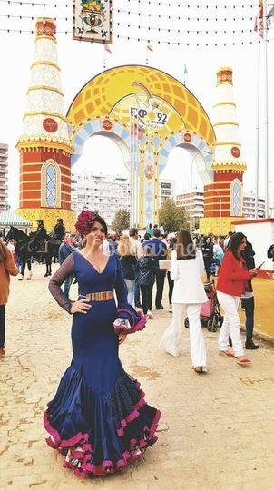 Vestido flamenco azul