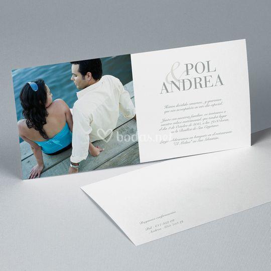 Tarjetón de boda de diseño